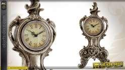 Horloge de table de style ancien finition vieil argent