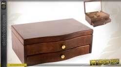 Boîte à bijoux en bois coloris brun avec miroir
