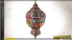 Lustre de style oriental en métal avec brillants multicolores 63 cm