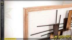 Duo de grands tableau en bois et métal de style abstrait 120 cm
