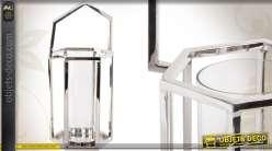 Lanterne hexagonale en métal et verre finition chromée