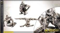 Série de 3 statuettes finition veil argent d'athlètes