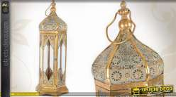 Grande lanterne hexagonale dorée de style oriental 66 cm