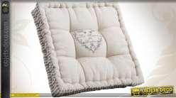 Coussin d'assise en coton et lin à bordure façon coutil