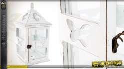 Lanterne blanche en bois motifs papillons