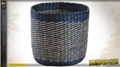 Série de 3 cache-pots en jonc teinté coloris bleu
