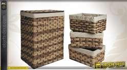Ensemble de 4 corbeilles à linge en jacinthe avec doublure coton