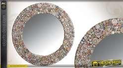 Miroir mural en verre avec encadrement en papier recyclé style récup
