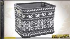 Corbeille de rangement en laine avec motifs variés et doublure polyester