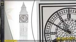Horloge murale décorative Big Ben en verre effet miroir