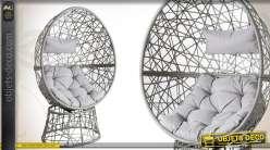 Fauteuil oeuf pivotant contemporain avec coussins d'assise et de tête imperméabilisés