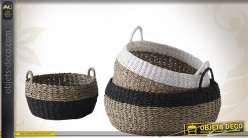 Série de 3 corbeilles de rangement en jonc et en corde finition bicolore