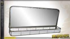 Miroir mural de vestiaire métal gris vieilli avec étagère