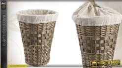 Panier à linge en éclisse et bois teinté avec doublure