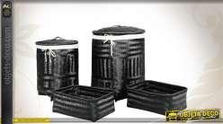 Série de corbeilles à linge en bambou laqué noir avec doublure