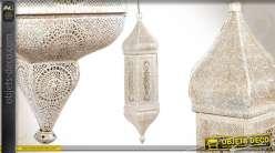Suspension de style oriental en métal blanc vieilli avec moucharabieh