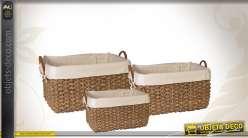 Trio de corbeilles de rangement avec doublures blanches et poignées