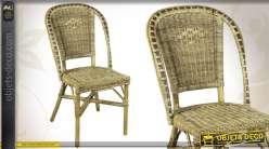 Chaise de salon en manau et moelle de rotin