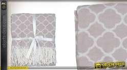 Plaid motifs marocains de quatrefoil 130 x 150 cm coloris beige