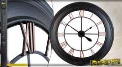Horloge murale de style indus Ø 80 cm en métal