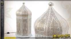 Lanterne orientale électrifiée patinée blanc vieilli et doré