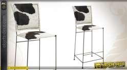 Tabouret de bar rétro finition peau de vache