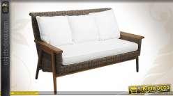 Canapé 3 places en teck et poelet gris finition ancienne