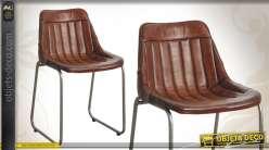 Chaise en métal de style vintage avec coque en cuir patiné