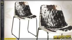 Chaise vintage en métal et en peau de vache naturelle
