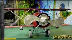 Avion décoratif géant biplan rouge en métal (3,5 mètres)
