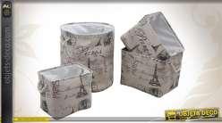 Set 4 pièces : panier et corbeilles à linge en jute motifs Paris