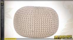 Pouf boule en coton Ø 50 cm coloris écru