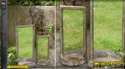 Lot de 2 miroirs muraux style brocante en fer forgé oxydé 50 cm