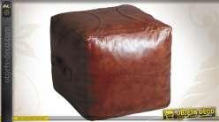 Pouf en cuir marron patiné de forme carrée