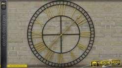 Horloge géante en fer forgé coloris noir antique et doré Ø 120 cm