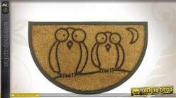 Paillasson en coco en demi-lune motifs hiboux