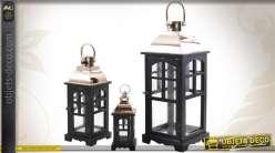 Série de 3 lanternes décoratives en bois, métal et verre