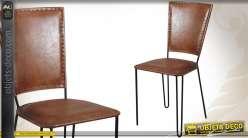 Chaise en métal et revêtement cuir marron