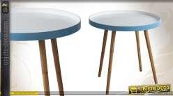 Petite table en bois avec plateau rond bicolore bleu et blanc