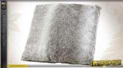 Coussin de décoration en fourrure synthétique coloris gris