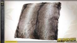 Coussin de décoration en fourrure synthétique coloris brun