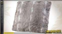 Coussin de décoration en fourrure synthétique coloris beige