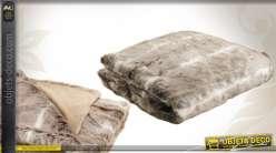 Plaid imitation fourrure de couleur beige 130 x 170 cm