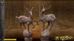 Sculptures animalières : paire de cerfs