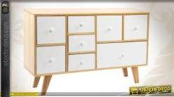 Meuble TV en bois à 8 tiroirs de style scandinave