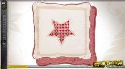 Housse de coussin boutis étoilé en coton 40 x 40 cm