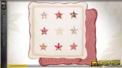Housse de coussin boutis étoilé en coton 50 x 50 cm
