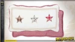 Coussin décoratif boutis étoilé en coton 25 x 45 cm
