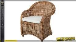 Fauteuil en poelet finition naturelle avec coussin d'assise