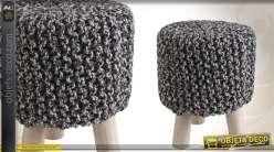 Tabouret en bois et en coton façon tricot bicolore
